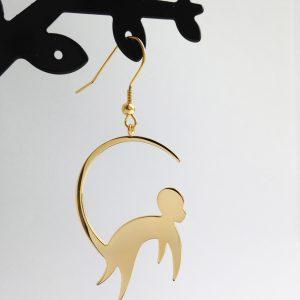Monkey earrings Gold Finish
