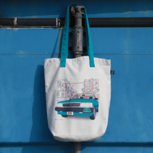 Blue Taxi Tote Bag